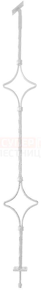 Кованая балясина «2 Ромба»белая (белый антик)